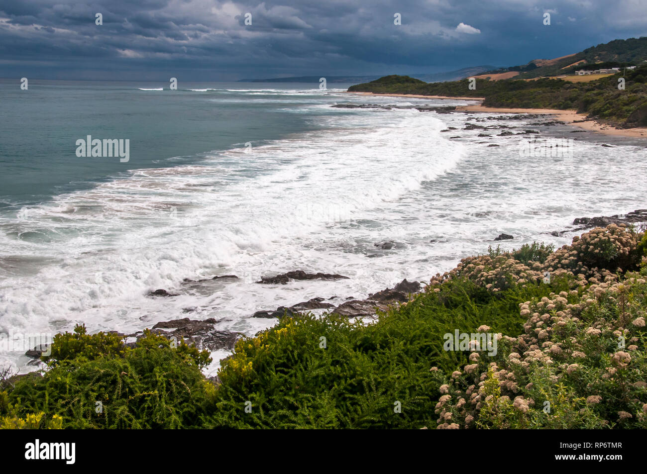 Looking west from Cape Patton towards Apollo Bay along the Great Ocean Road, Victoria, Australia Stock Photo