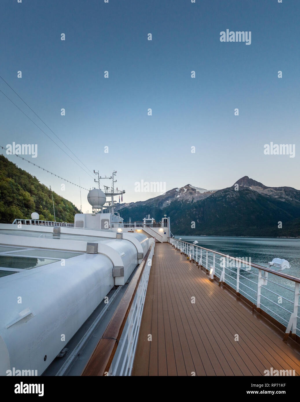 September 15, 2018 - Skagway, AK: Sports deck of Holland America's The Volendam, while docking at port in the early morning in Taiya Inlet. - Stock Image