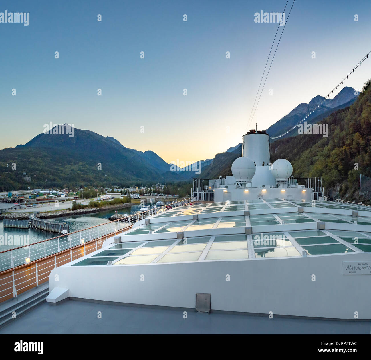 September 15, 2018 - Skagway, AK: Sports deck and closed Magrodome of Holland America's The Volendam, while docking at the Port of Skagway. - Stock Image