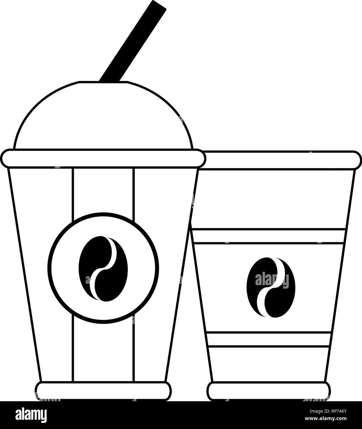 Coffee to go cups isolated in black and white Stock Vector