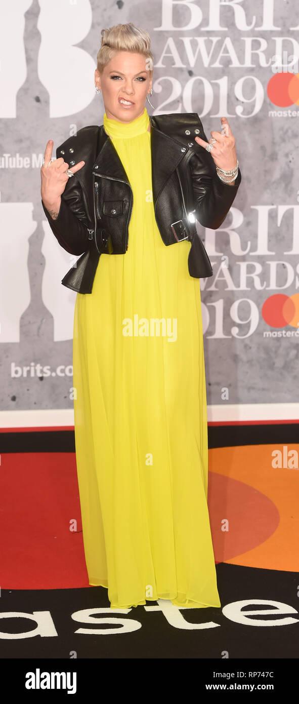 Photo Must Be Credited ©Alpha Press 079965 20/02/2019 Pink Alecia Moore  The Brit Awards 2019 at The O2 Arena London - Stock Image