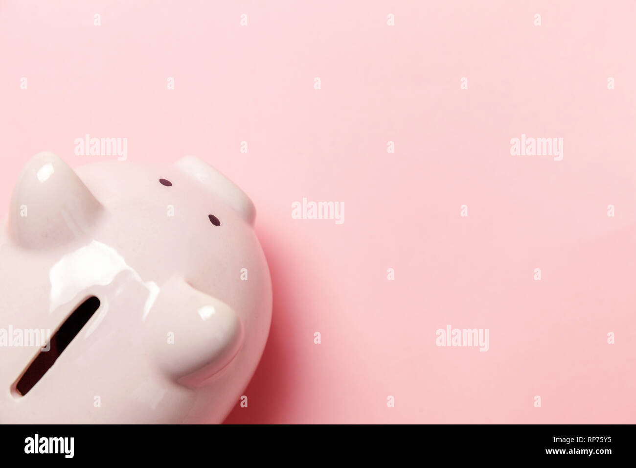 Saving investment budget wealth retirement financial money banking concept. Pink piggy bank isolated on pink pastel colourful trendy background. Flat  Stock Photo