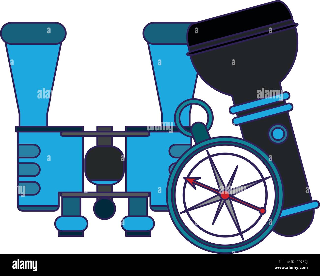 Camping lifestyle equipment blue lines - Stock Vector