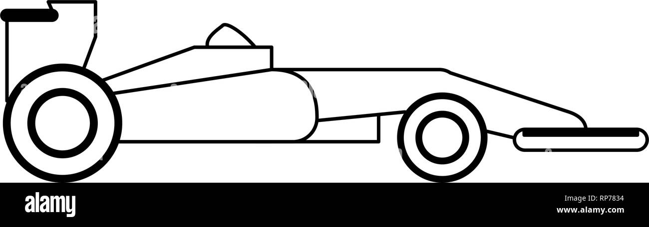 Formula 1 car sideview black and white - Stock Image