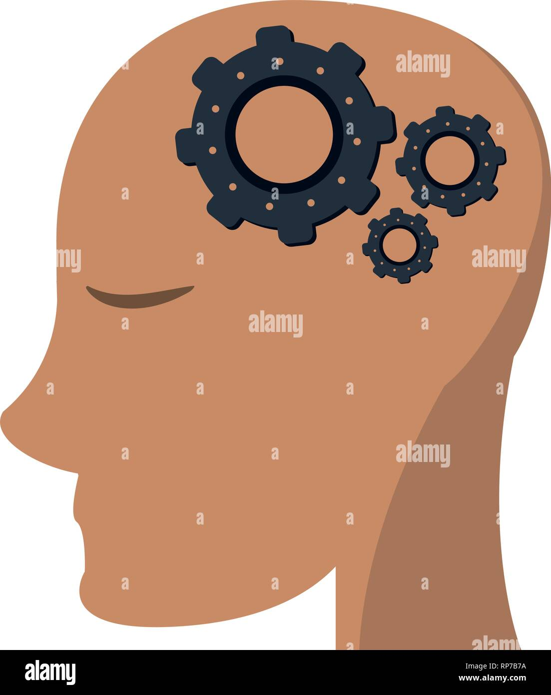 head with gears in mind - Stock Vector
