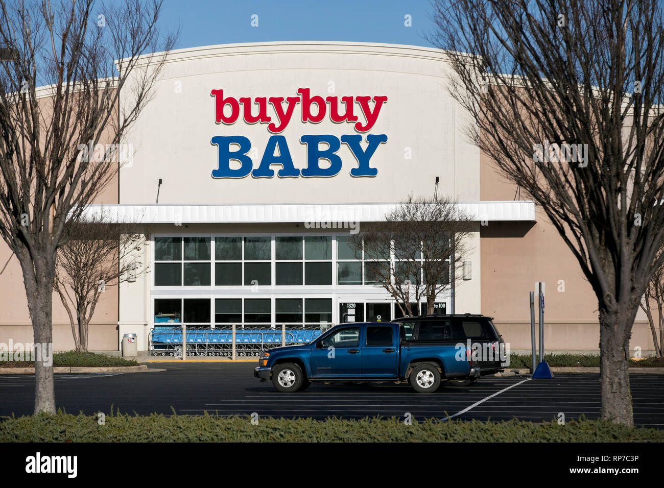 A logo sign outside of a Buy Buy Baby retail store location in Fredericksburg, Virginia on February 19, 2019. - Stock Image