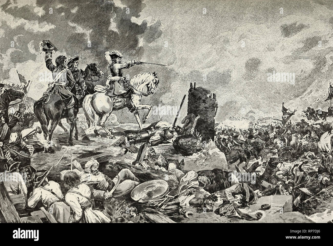 Prince Eugene's Disobedience - Eugene, by defying the Imperial Command, crushes the Turks at Zenta - Stock Image