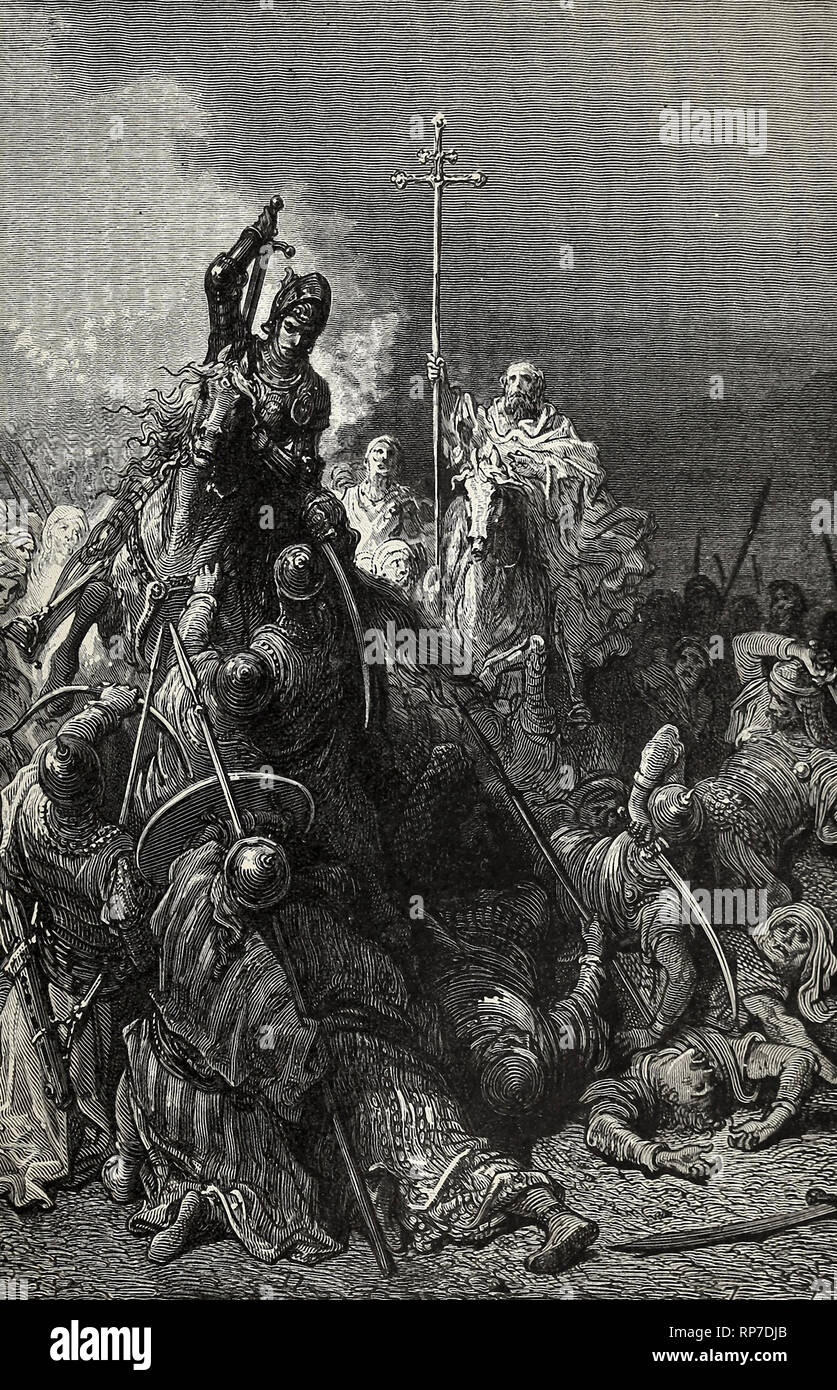 Hunyadi at Belgrade - The Mighty Warrior and the monk Capistran lead the Peasants against the Turks - Stock Image