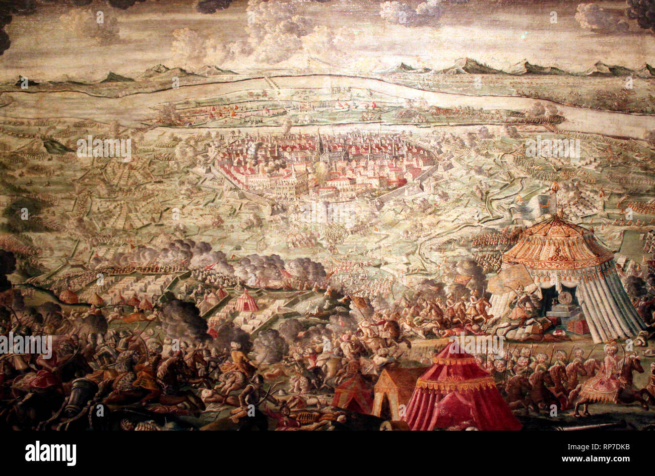The relief of Vienna on September 12, 1683 In the decisive battle at Kahlenberg, the united imperial army succeeded in liberating Vienna after two months of siege at the hands of the turkish army. - Stock Image