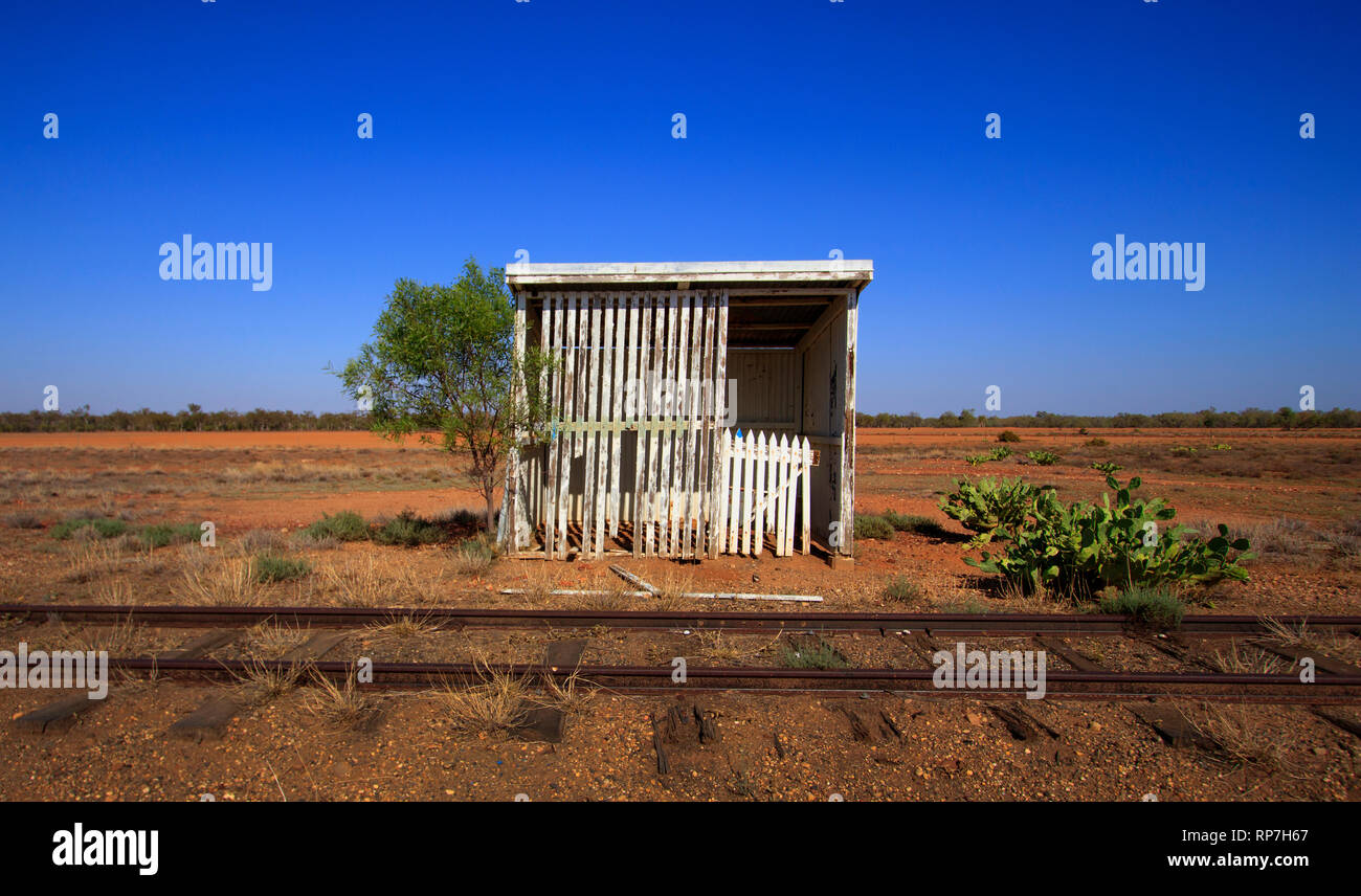 Old abandoned Outback Australian Railway siding between Charleville and Cunemulla in Western Queensland. - Stock Image