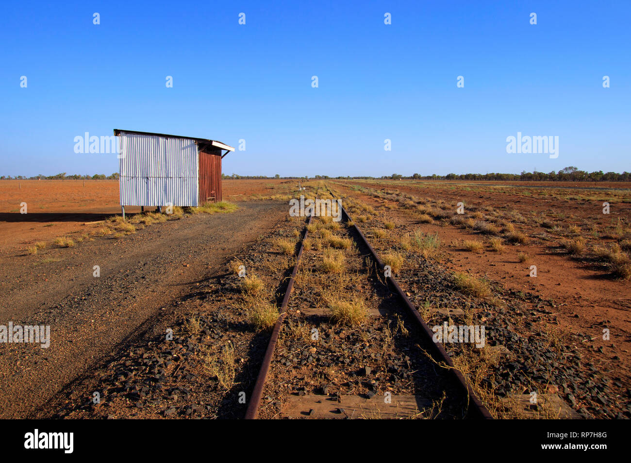 Disused railway siding between Charleville and Cunemulla in Western Queensland. - Stock Image