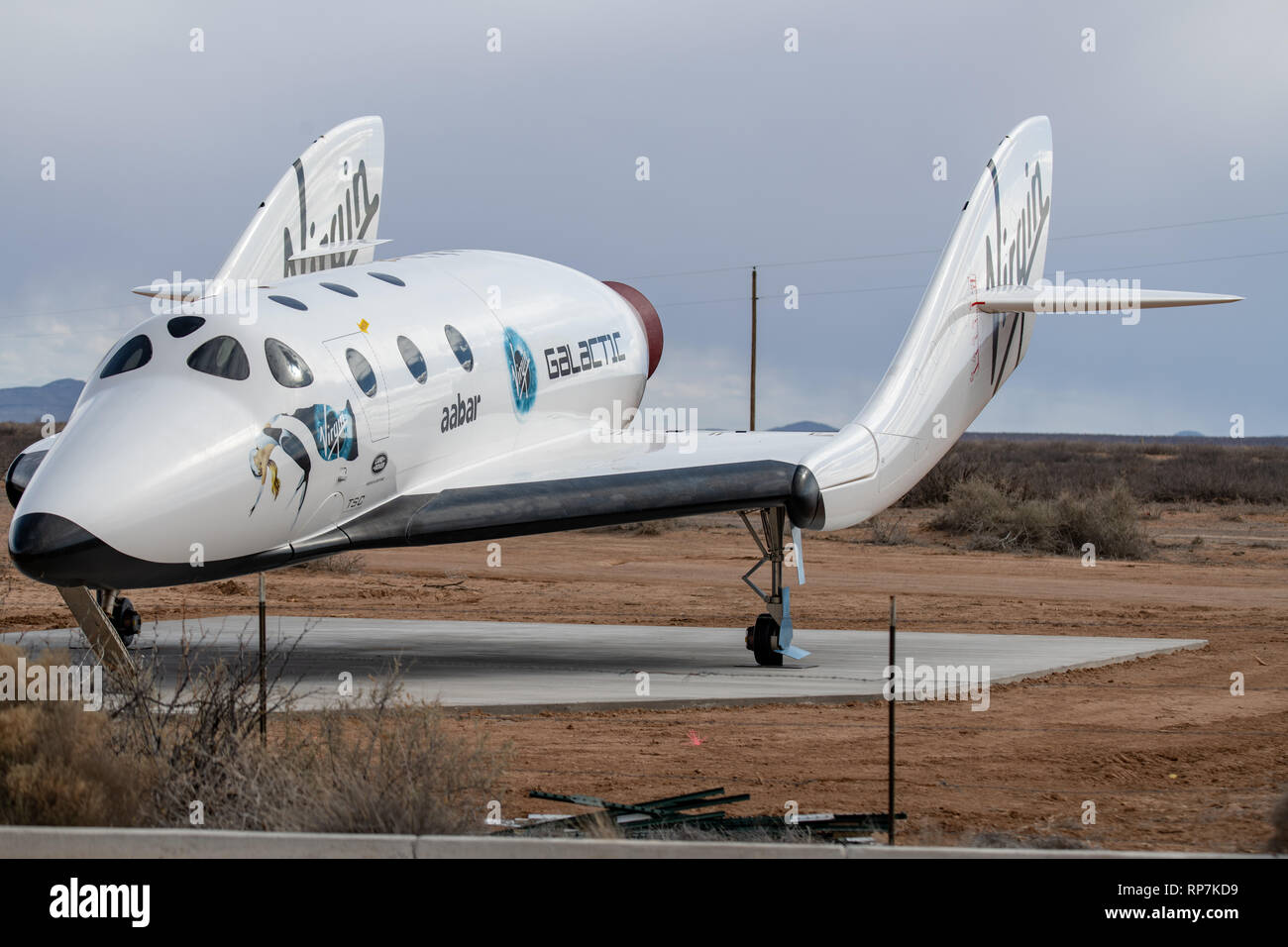 Full-size replica of Virgin Galactic's space plane at Spaceport America in New Mexico - Stock Image