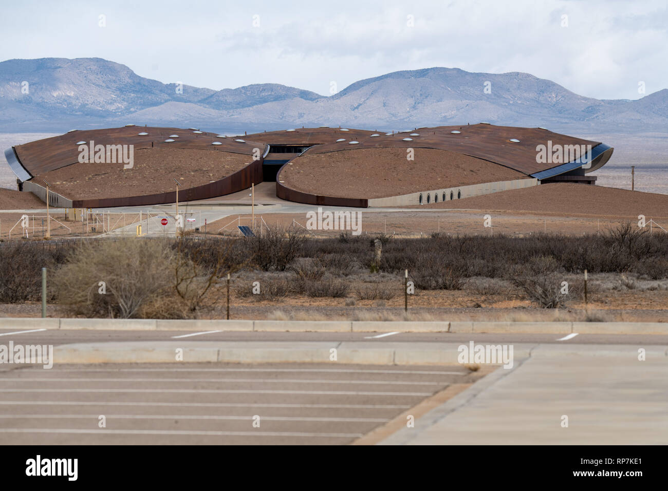 Spaceport America building is located in the high desert terrain of southern New Mexico, USA - Stock Image
