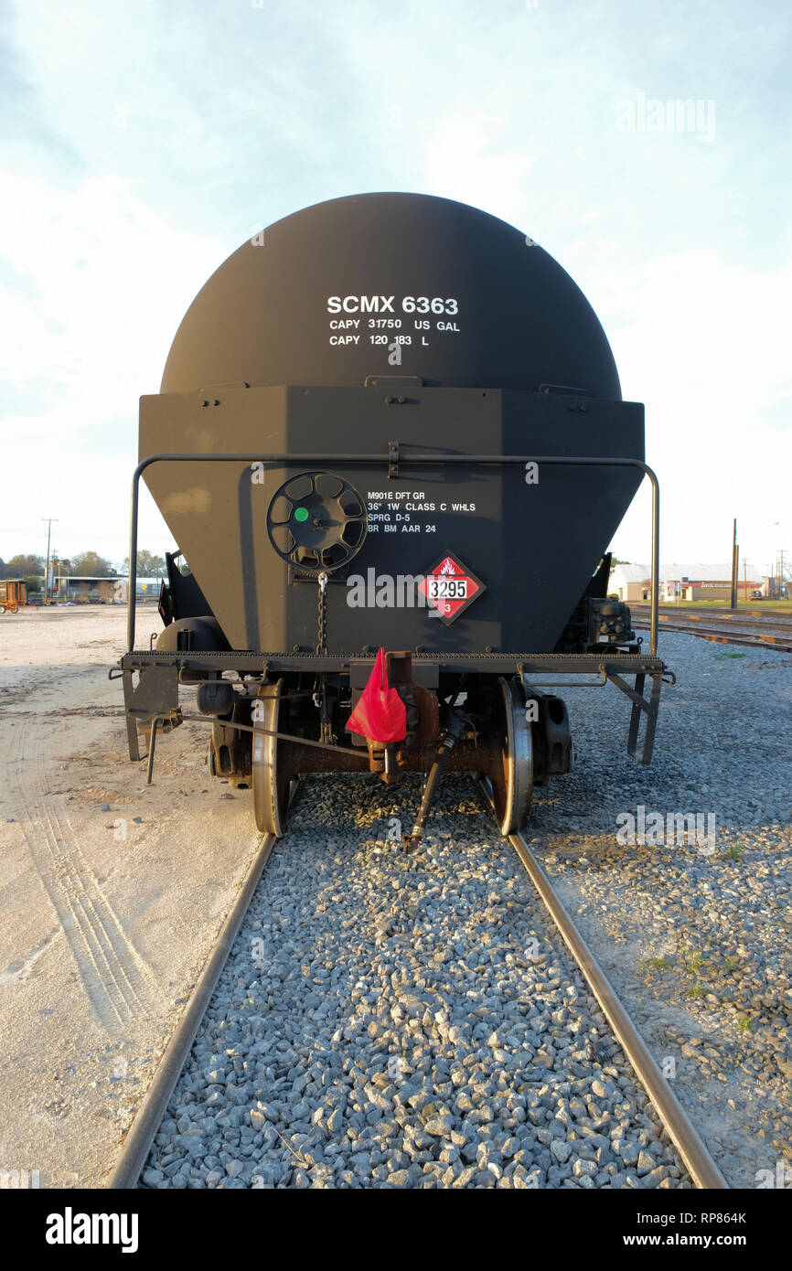 Train tanker for transporting Class 3 flammable liquids by rail; railway transportation for chemicals; Bryan, Texas, USA. - Stock Image