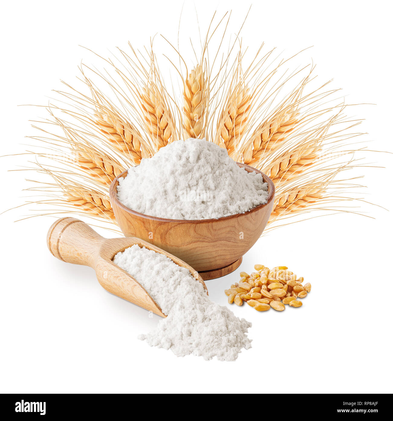 Bowl of white wheat flour and ears isolated Stock Photo