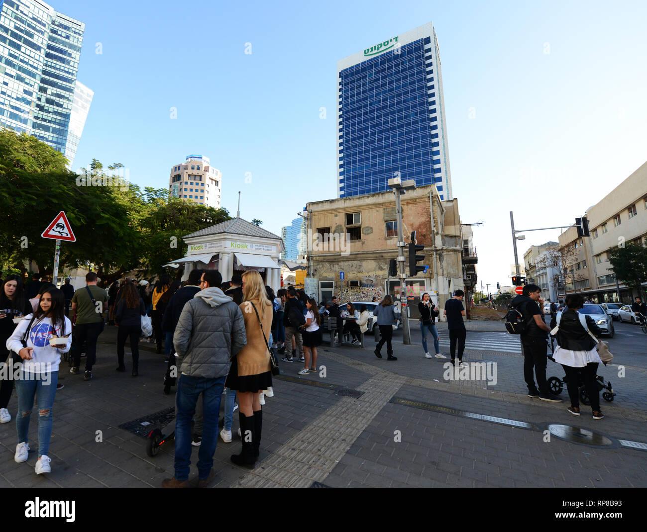 The first Kiosk on the trendy Rothschild Boulevard in Tel Aviv's White City. - Stock Image