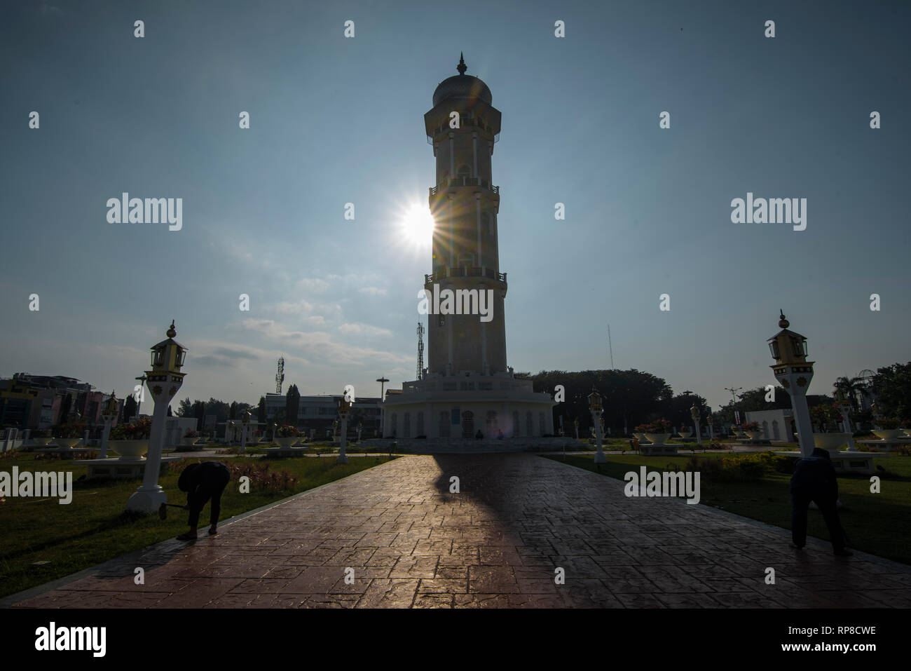 Banda Aceh, ACEH Province, INDONESIA - February 20 2019: Baiturrahman Grand Mosque is located in the heart of Banda Aceh City. Stock Photo