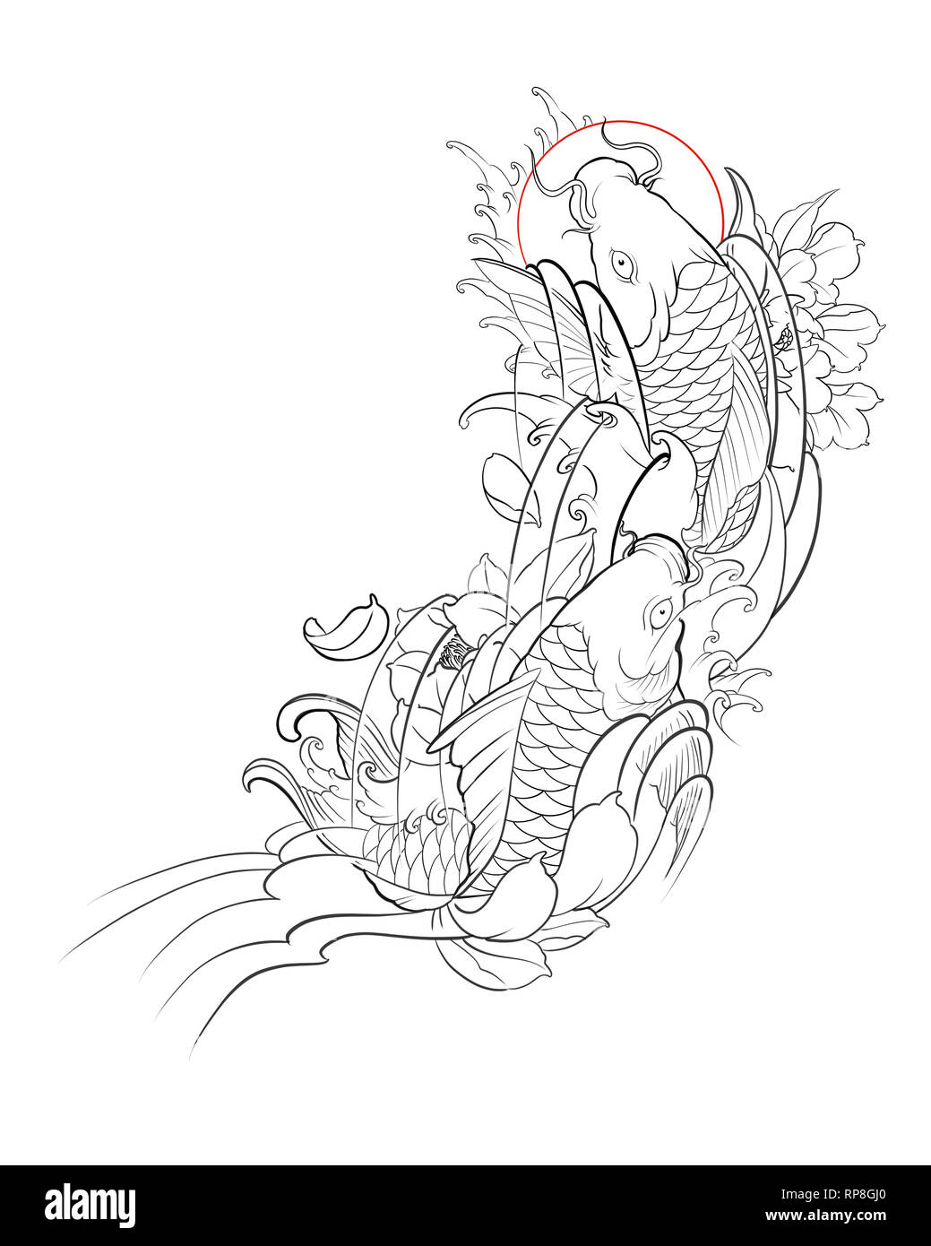 Hand Drawn Outline Of Koi Fish With Lotus Flower And Water Wave