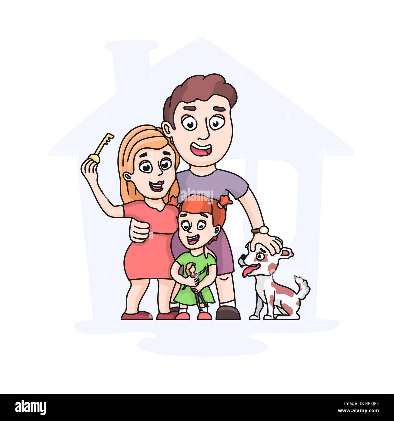 family consists of parents of one child and a dog - Stock Image