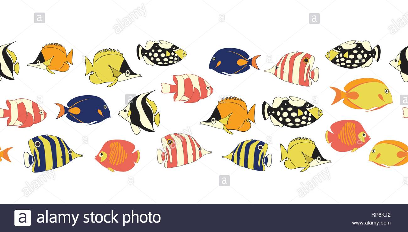 Reef fish seamless vector border. Tropical colorful fishes decor.  Butterflyfish 4253a8a95b26