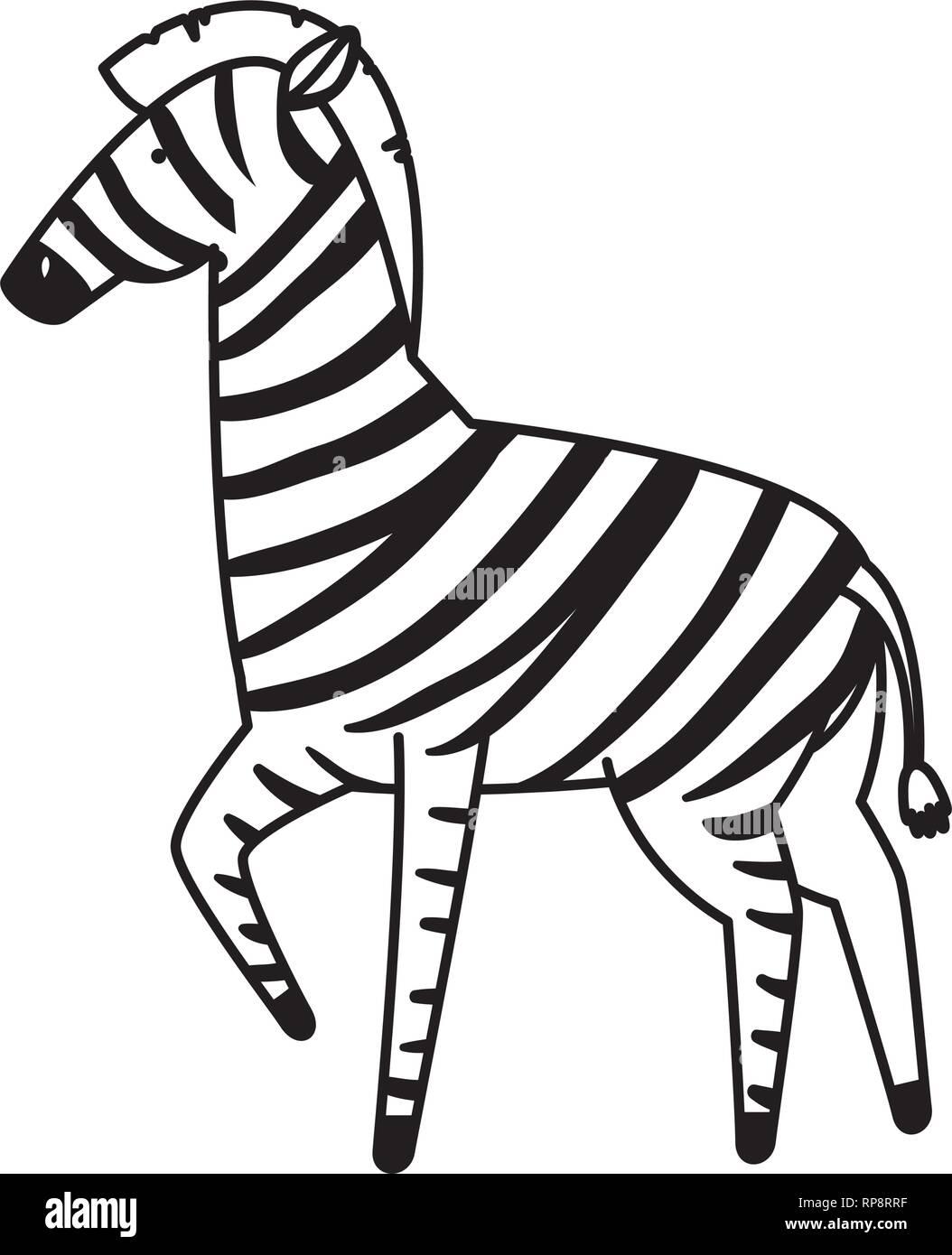 3afdda4ea411f african zebra wild character vector illustration design - Stock Image
