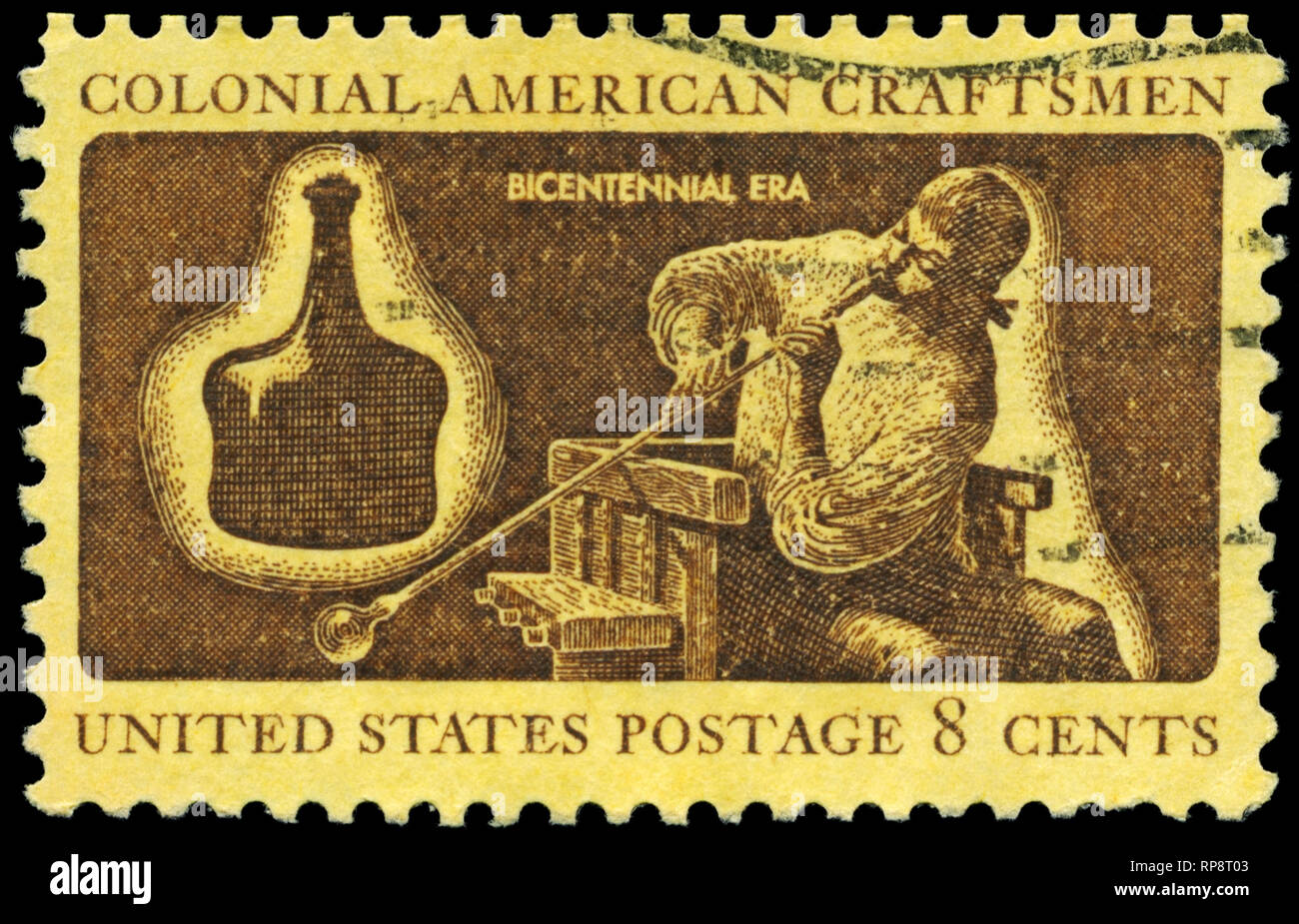 "USA - CIRCA 1972: A Stamp printed in USA shows a Glassmaker, ""Colonial American Craftsmen"" series, circa 1972 Stock Photo"