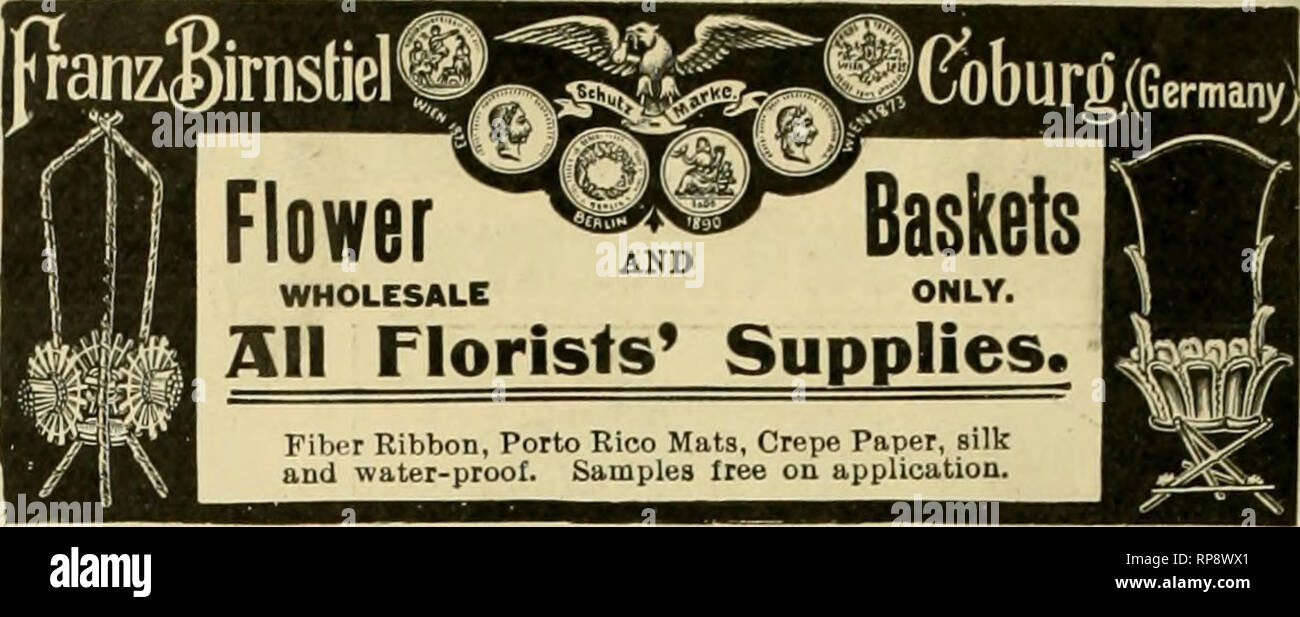 ". The American florist : a weekly journal for the trade. Floriculture; Florists. 156 1^^ The American Florist. Feb. zo STANDARD FLOWER POTS  Packed in small crates, easy to handle.  ? Price per crate 120 7-in., in crate, $4.20 60 8 '• 3.00 HAND HADE. 48 9-in., in crate, $3.fi0 Price per crate 1500 2-in , in crate, J4.88 1500 2M 5.25 1500 2H 6.00 1000 3 5.00 800 3VJ 5.80 5004 4.50 320 5 4.51 144 6 3.16 48 10 24 11 24 12 12 14 6 16 4.80 3.60 4.80 "" 4.80 4.50 Send for price Seed pans, same price as pots, list of Cylinders for Cut Flowers, Hanging baskets. Lawn Vases, etc. Ten per cent off  - Stock Image"