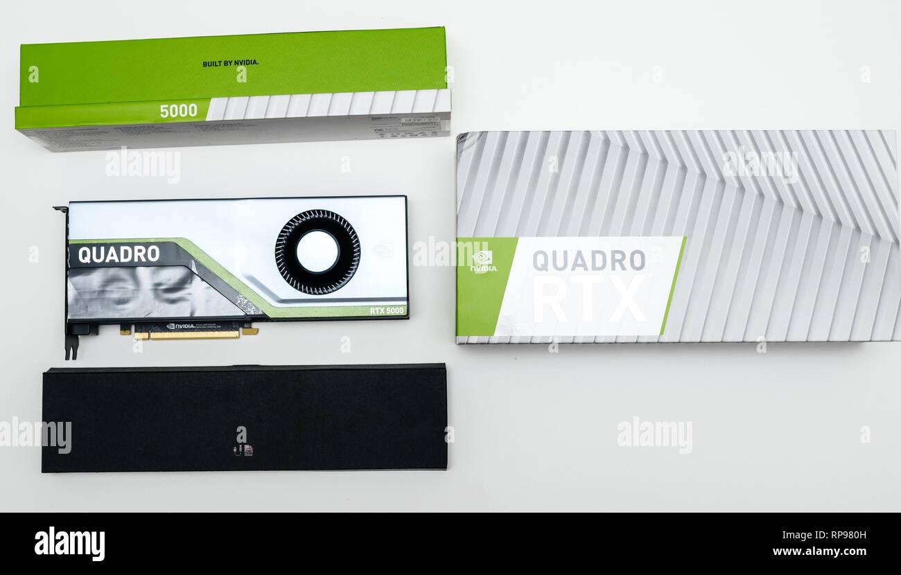 Paris, France - Feb 20, 2019: Unboxing of the latest Nvidia Quadro