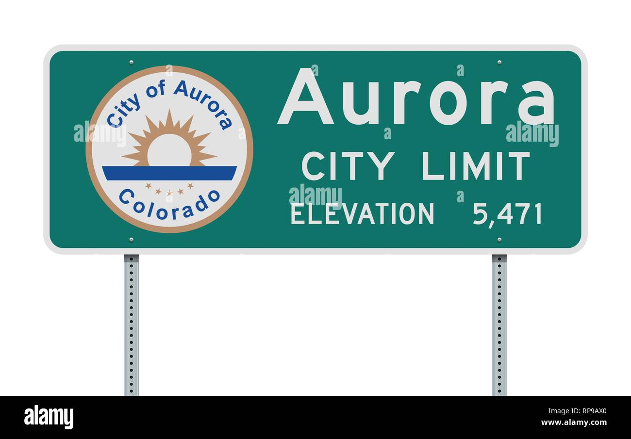 Vector illustration of the Aurora City Limits green road sign with the elevation - Stock Image