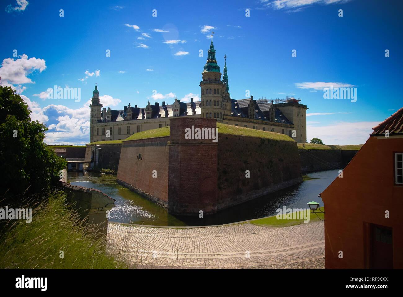panorama of Kronborg castle at Helsingor, Denmark - Stock Image