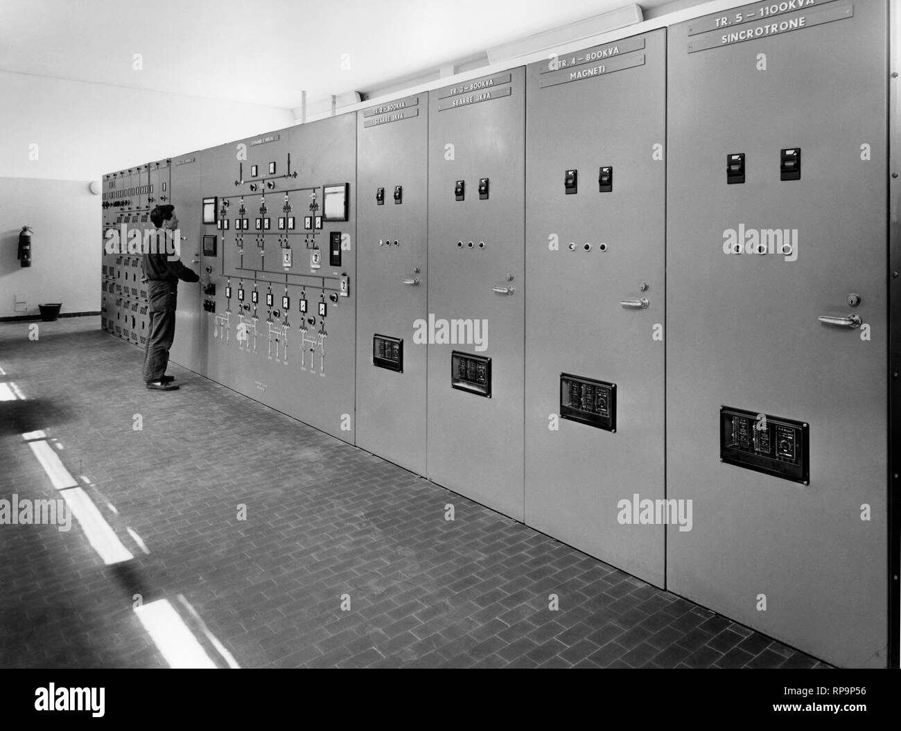 Electric central framework of the laboratory for Nuclear Research, Italy, 1958 Stock Photo