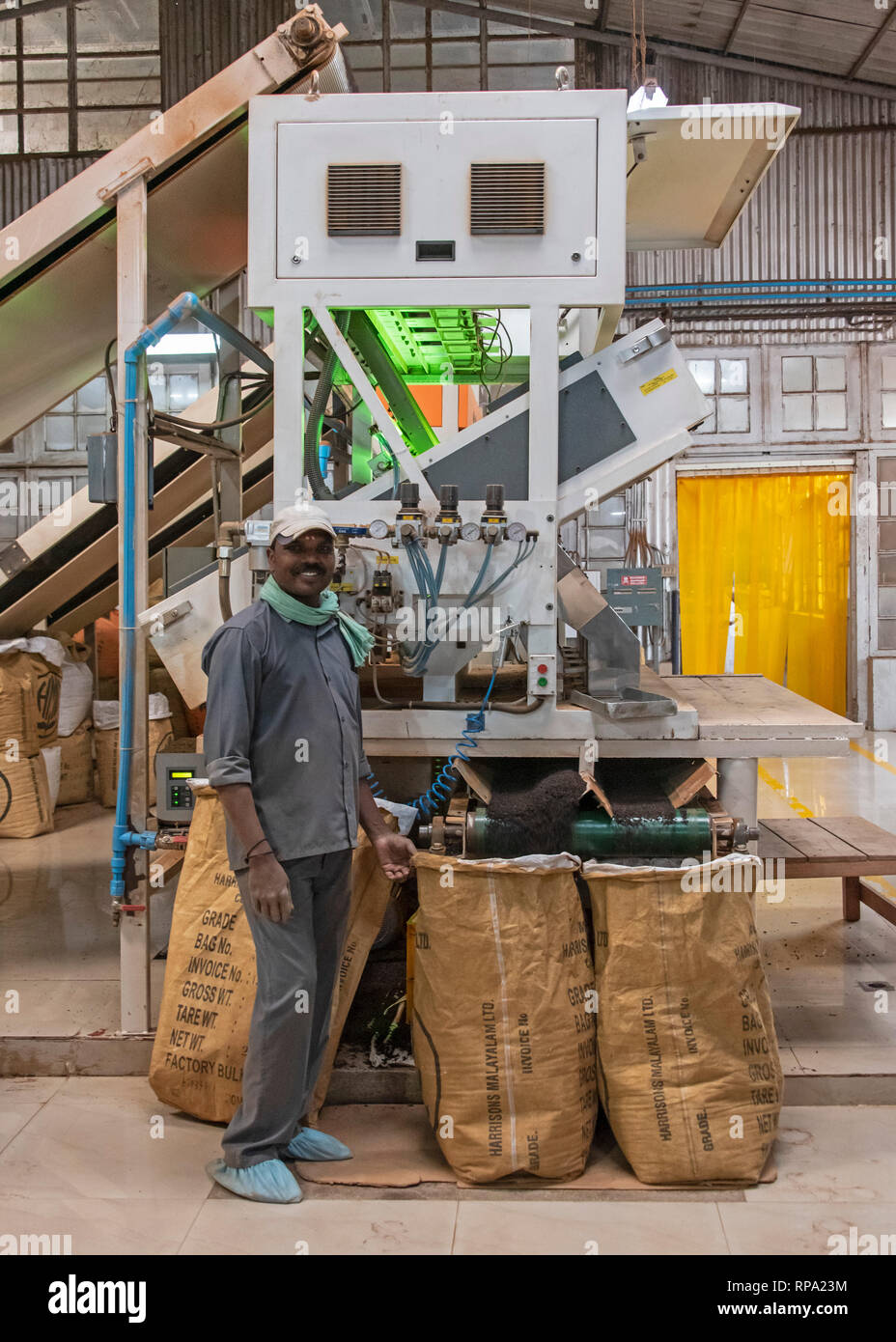 A worker at work in the Lockhart tea factory using new macinery smiling posing for the camera. Stock Photo