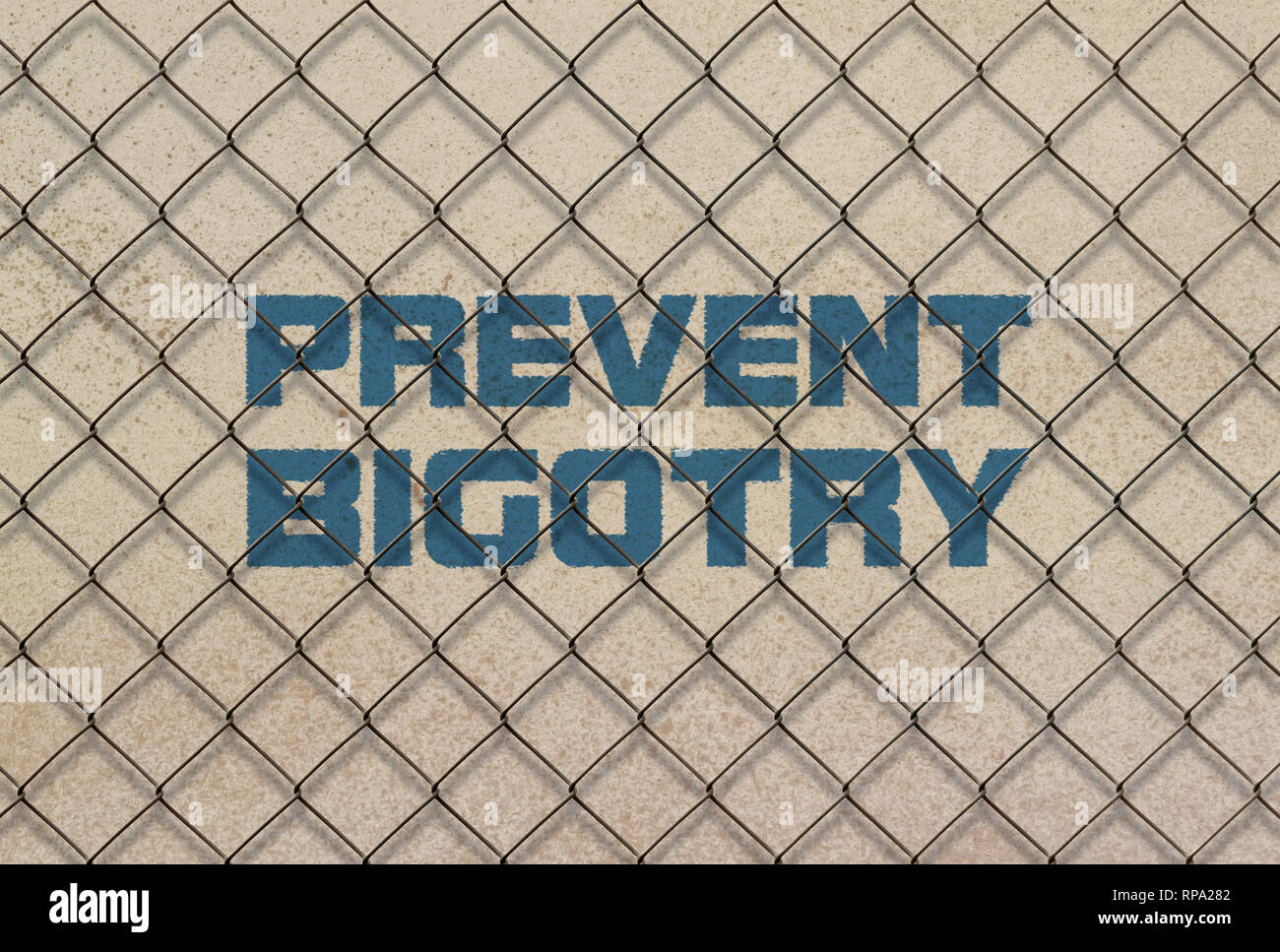 Text Prevent Bigotry written in blue under a wire mesh - Stock Image