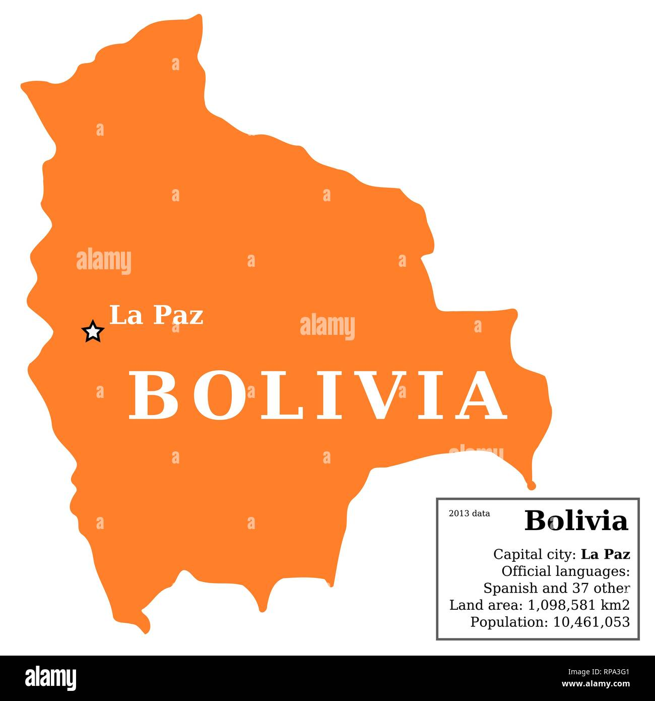 Picture of: Map Of Bolivia Country Outline With Information Box Stock Vector Image Art Alamy