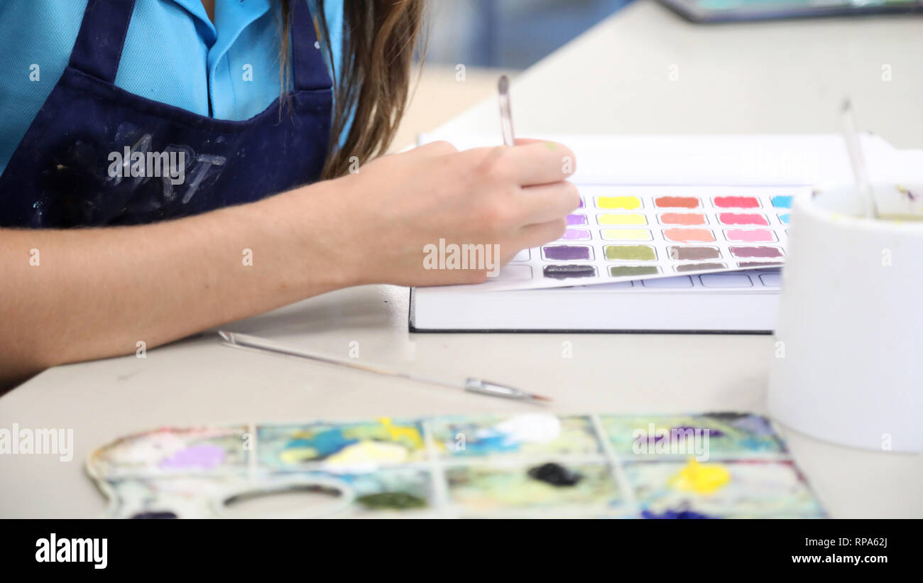 Students working in their visual art process diaries exploring experimenting with colour theory. Painting in workbooks. Creative arts education concep - Stock Image