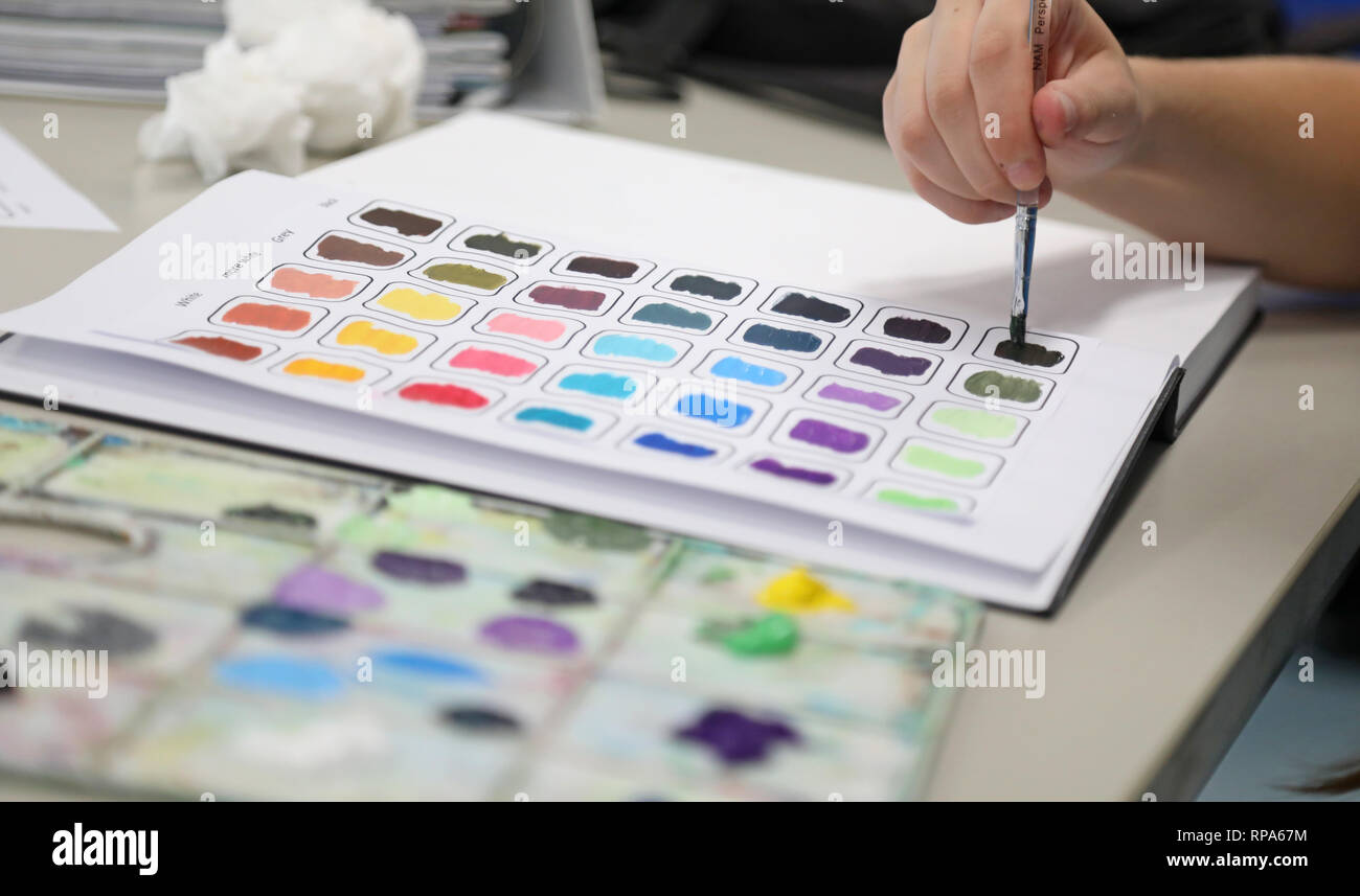 Students working in their visual art process diaries exploring experimenting with colour theory on a page. Painting in workbooks. Creative arts educat - Stock Image