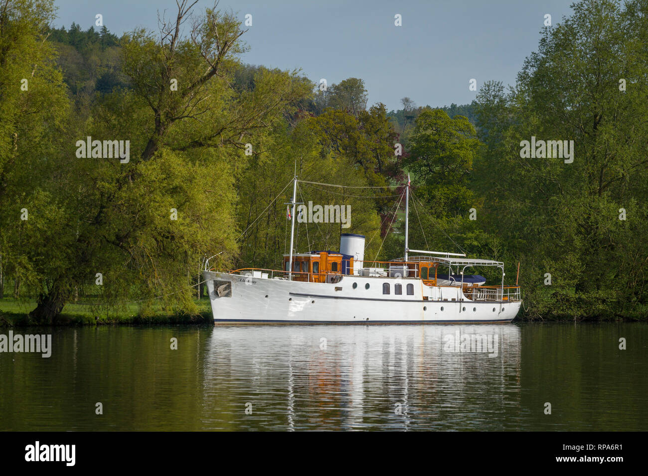 The Llanthony, a restored Dunkirk Little Ship moored on the Thames near Hambleden, Buckinghamshire. - Stock Image