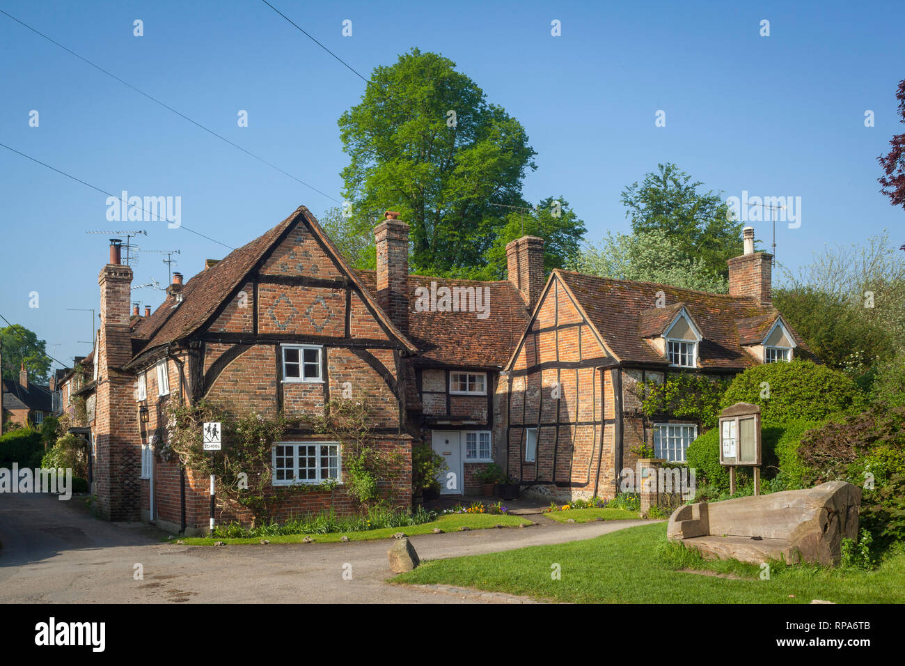 Period cottages opposite the church in Turville, Buckinghamshire. - Stock Image