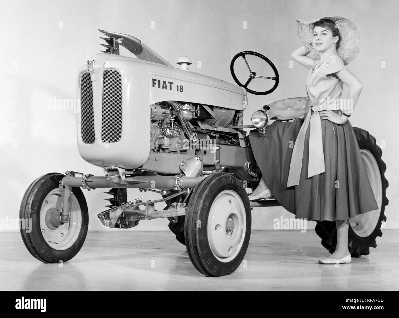 fiat tractor and model, 1957 - Stock Image