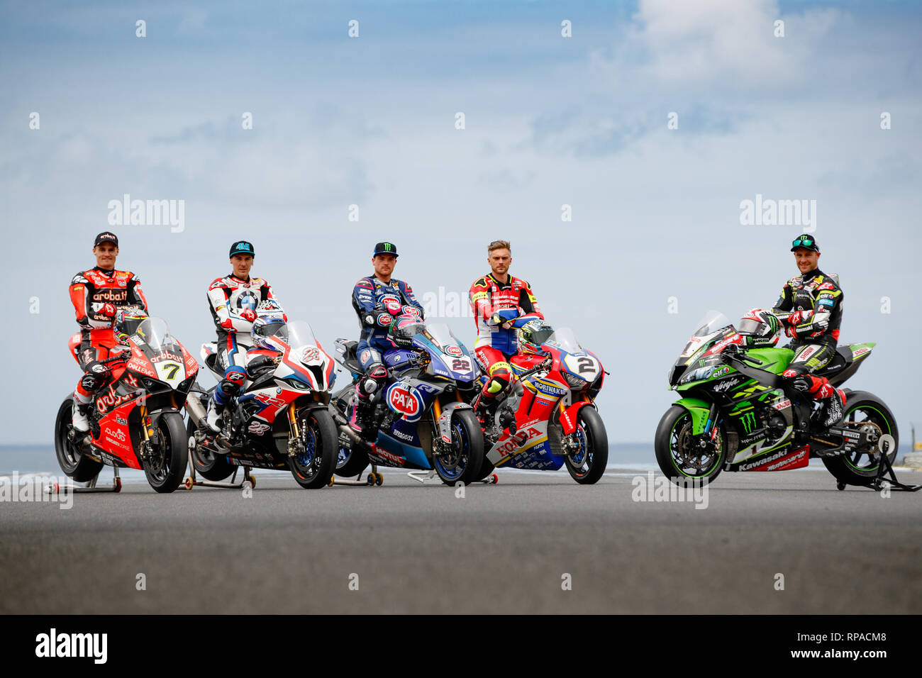 Phillip Island, Australia. 21st Feb, 2019. Chaz Davies, Markus Reiterberger, Alex Lowes, Leon Camier and Jonathan Rea line up for a group photo on Gardner Straight at Phillip Island for the Superbike World Championship of Australia. Credit: corleve/Alamy Live News - Stock Image