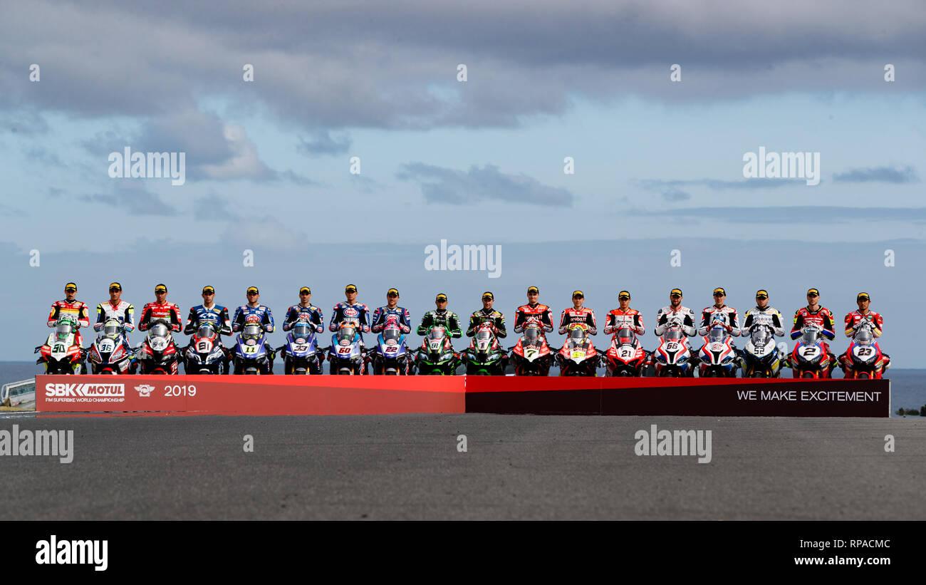 Phillip Island, Australia. 21st Feb, 2019. World Superbike Riders line up for a group photo on Gardner Straight at Phillip Island for the Superbike World Championship of Australia. Credit: corleve/Alamy Live News - Stock Image