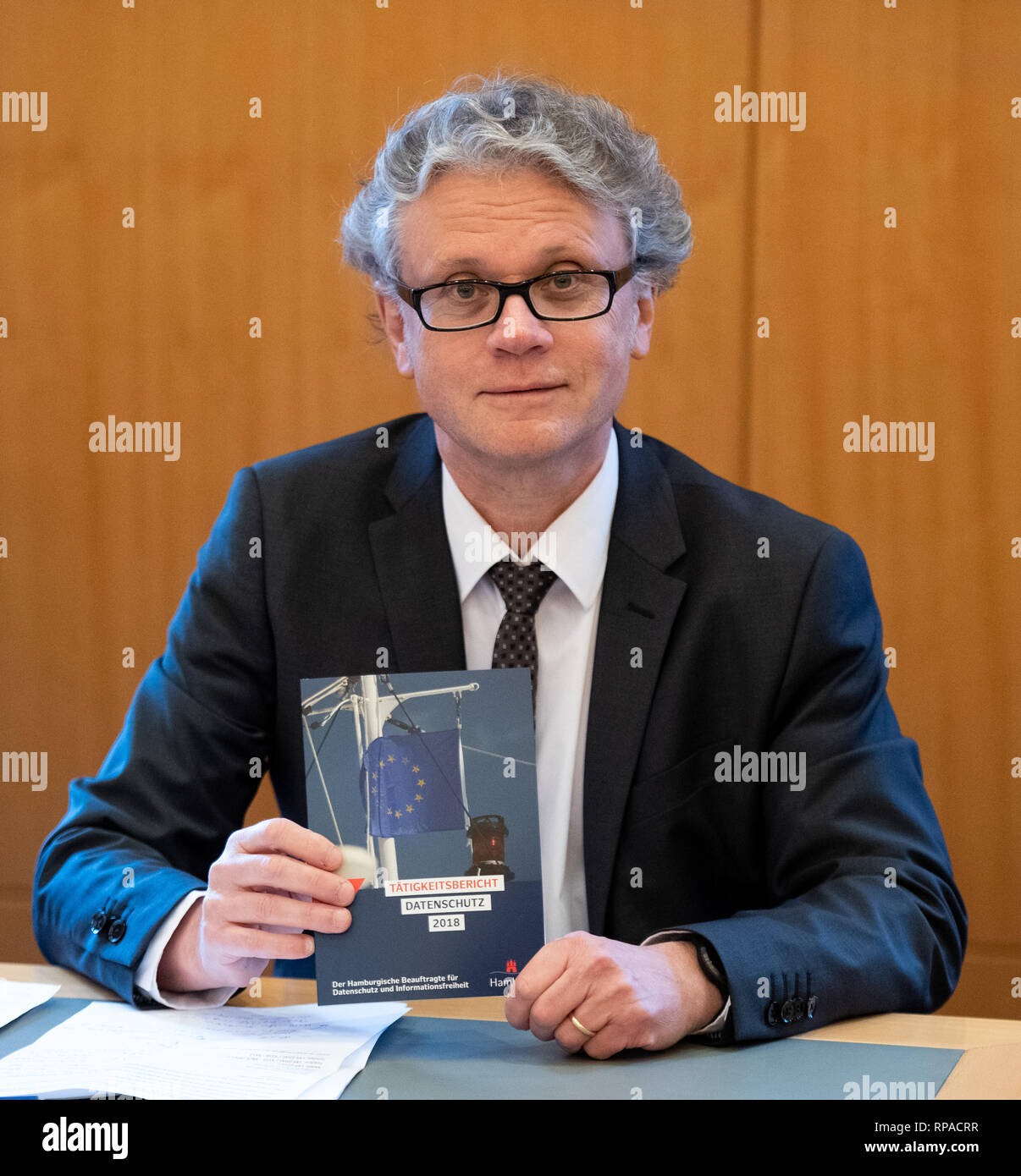 Hamburg, Germany. 21st Feb, 2019. Johannes Caspar, Hamburg Commissioner for Data Protection, presents the Activity Report 2018 at a press conference in the City Hall. (to dpa 'Hamburg's data protection commissioners plague personnel worries') Credit: Daniel Reinhardt/dpa/Alamy Live News - Stock Image