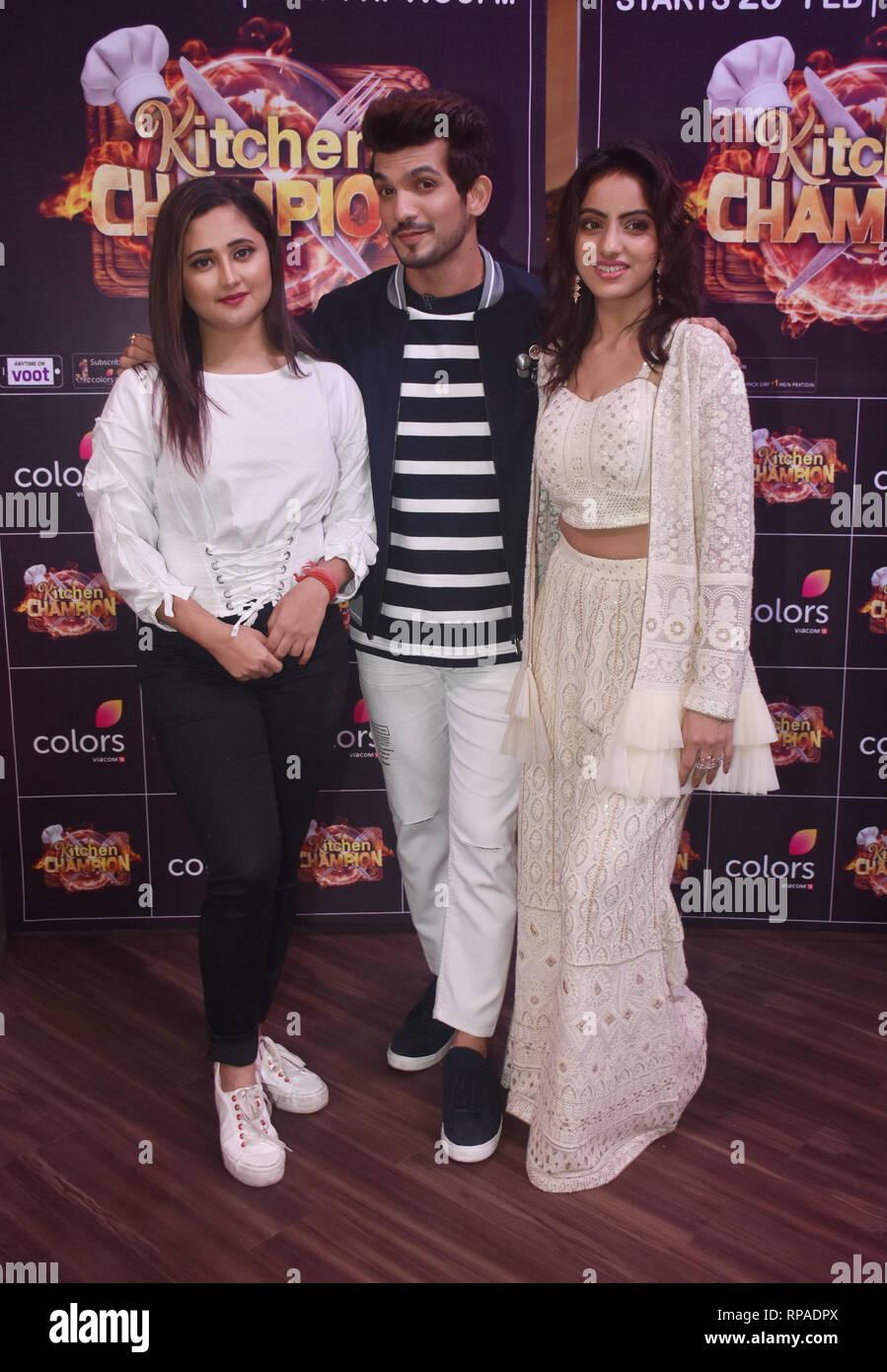 L-R: Indian television actress Rashami Desai, Arjun Bijlani and
