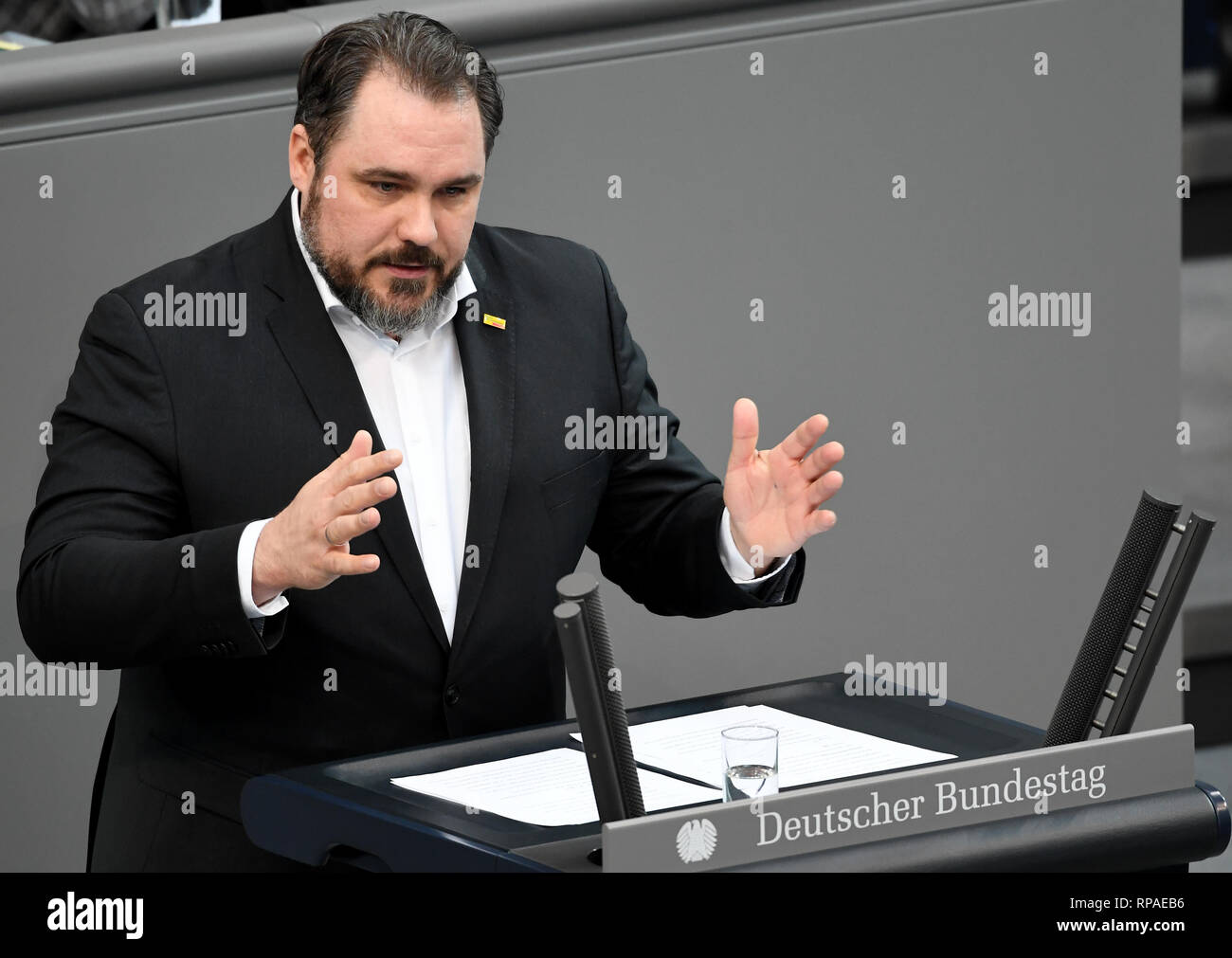 Berlin, Germany. 21st Feb, 2019. Daniel Föst (SPD), speaks at the 83rd session of the Bundestag on the further development of child and youth welfare. Credit: Britta Pedersen/dpa-Zentralbild/dpa/Alamy Live News Stock Photo