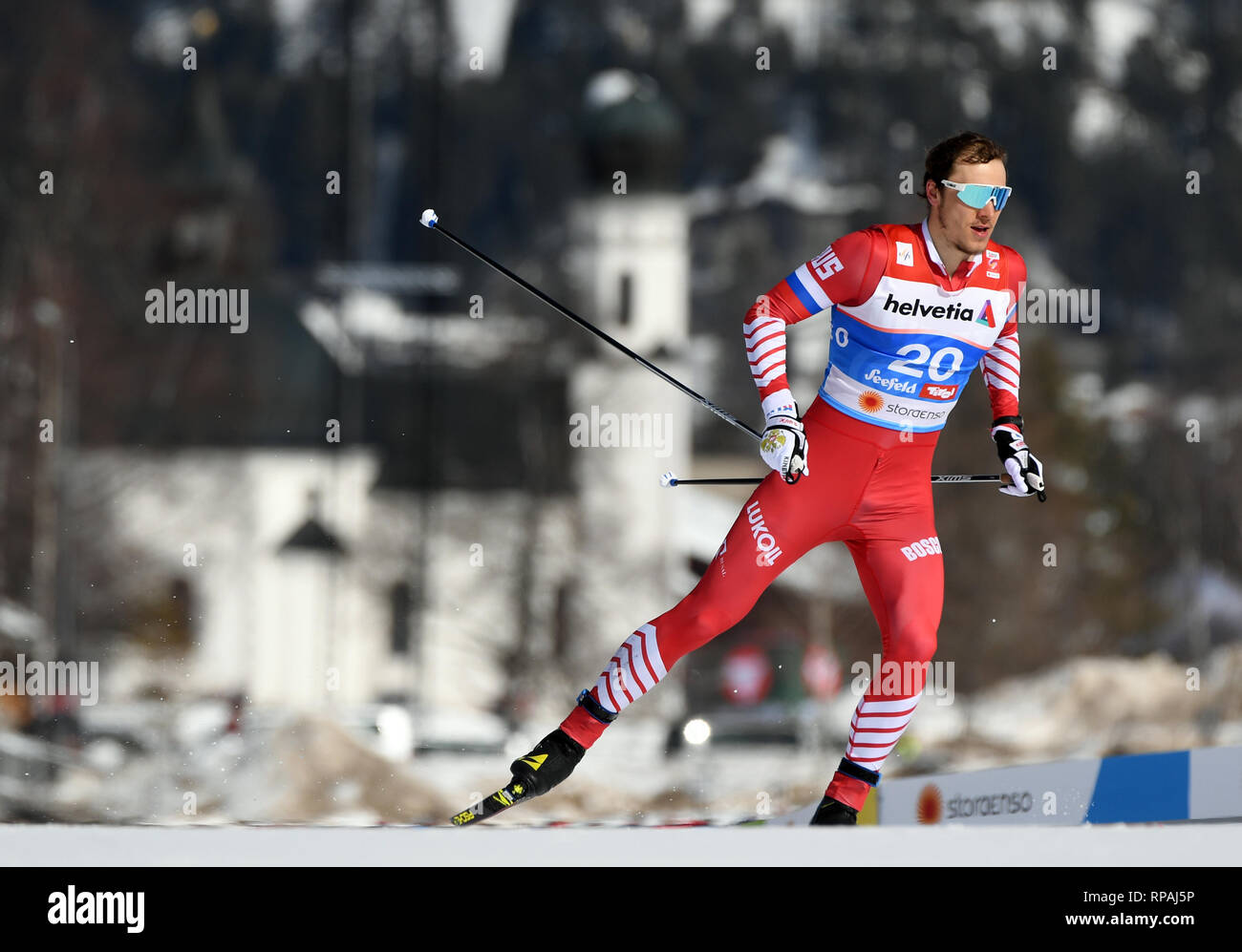 Seefeld, Austria. 21st Feb, 2019. Nordic skiing, World Championships, Cross Country, Sprint Freestyle, Men. Gleb Retiwych from Russia on the line. Credit: Hendrik Schmidt/dpa-Zentralbild/ZB/dpa/Alamy Live News - Stock Image