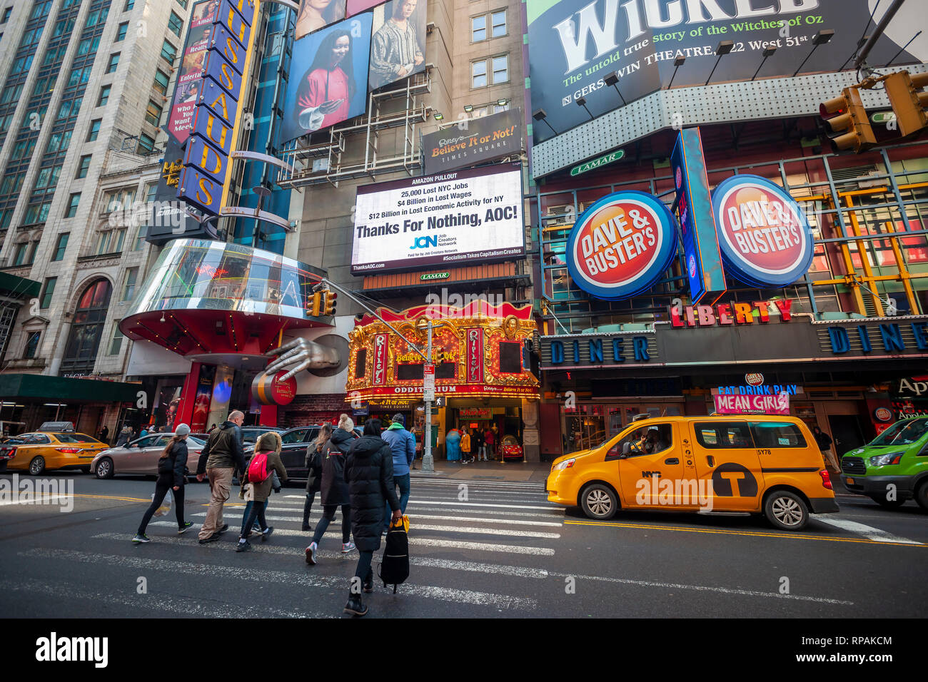 New York, USA  21st Feb 2019  An electronic billboard in Times