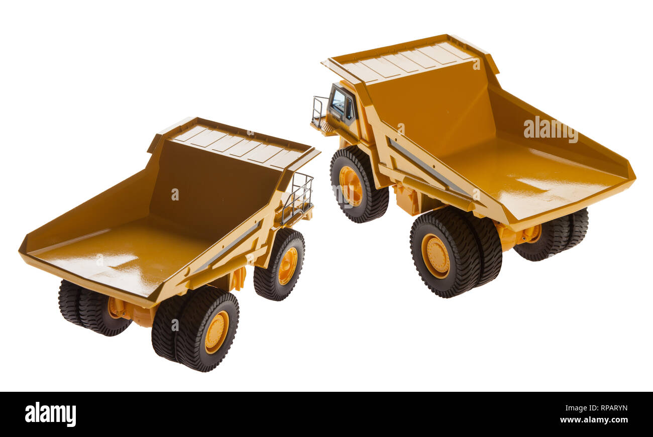 Heavy Load Dump Truck Carrier Back View - Stock Image