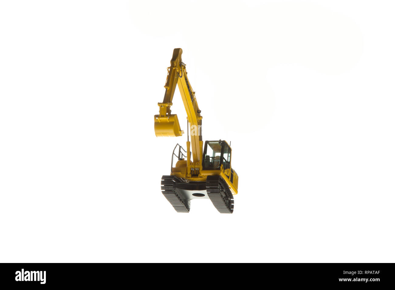 Excavator construction machinery front angle bottom view - Stock Image