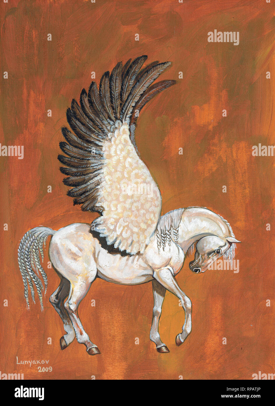 Pegasus Illustration White Horse With Wings Acrylic Picture Stock Photo Alamy
