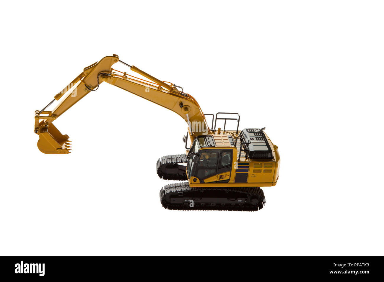 Excavator construction machinery aerial view - Stock Image